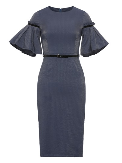 Bell Sleeve Belt Waist Elegant Sheath Dress