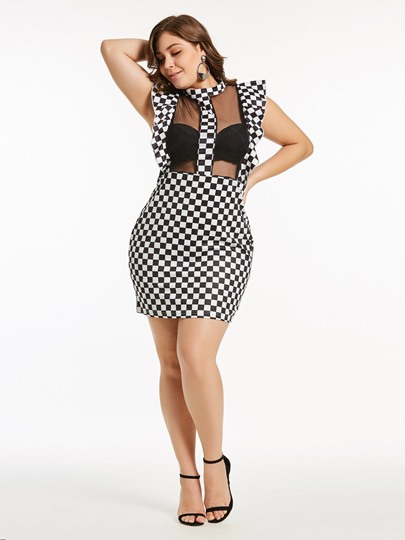 Plus Size Cap Sleeve Stand Collar Bodycon Dress