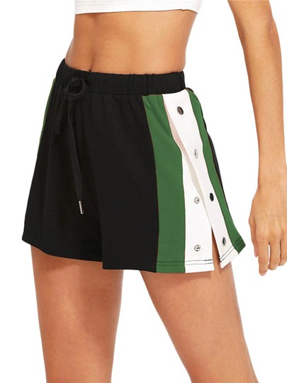 Stripe Side Spilt Drawstring Women's Shorts
