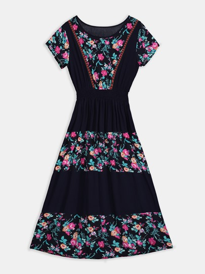 Round Neck Plant Floral Preppy A-Line Dress