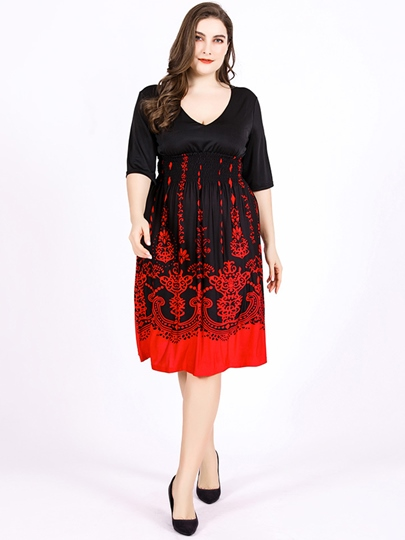 Plus Size Prints Knee-Length Floral Day Dress