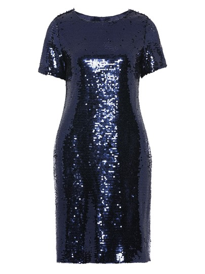 Round Neck Short Sleeve Sequins Party Dress