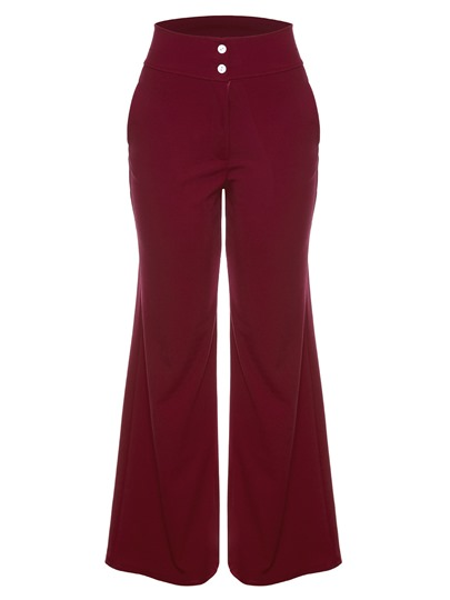 Plain Button High Waist Women's Pants