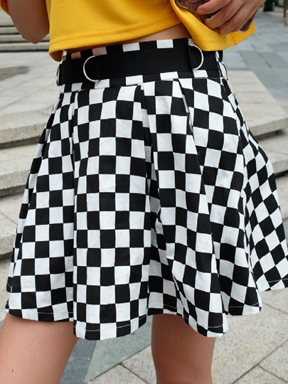Black and White Plaid High Waist Women's Skirt