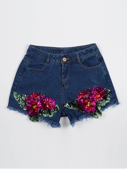 Denim Floral Embroidery Slim Fit Women's Shorts