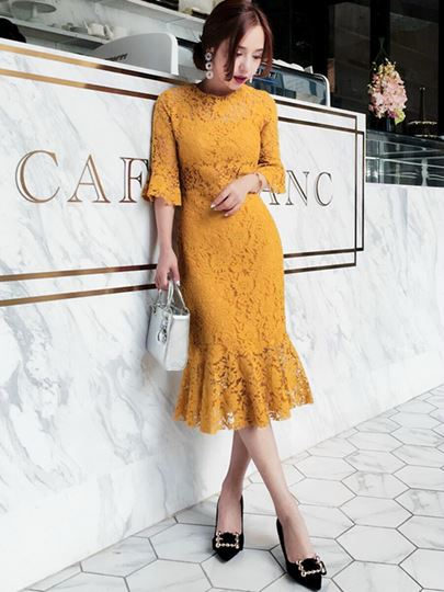 Bright Yellow Half Sleeve Women's Lace Dress