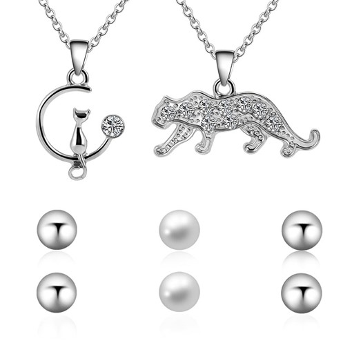 Cheetah Cat Pearl Combination Jewelry Sets