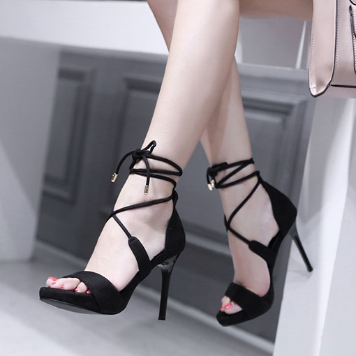 Lace-Up Suede Open Toe Casual Women's Sandals