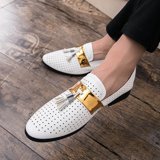 Hollow Tassel Slip-On Round Toe Men's Shoes