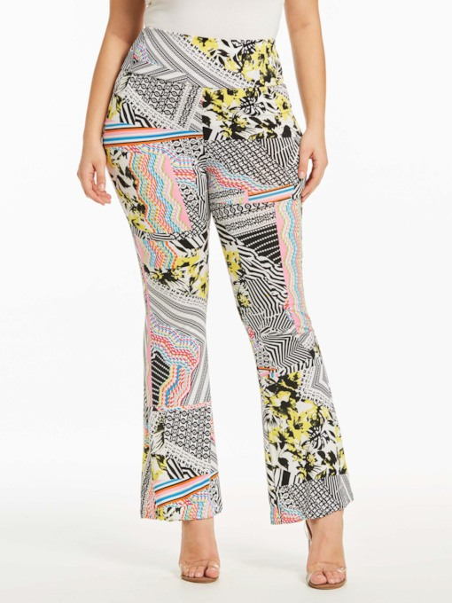 Print Slim Fit High Waisted Women's Casual Pants