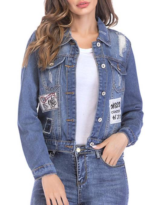 Button Up Denim Women's Jacket With Patch