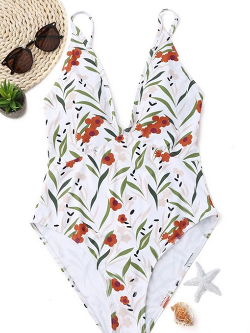 V Neck White Floral One Piece Bathing Suits