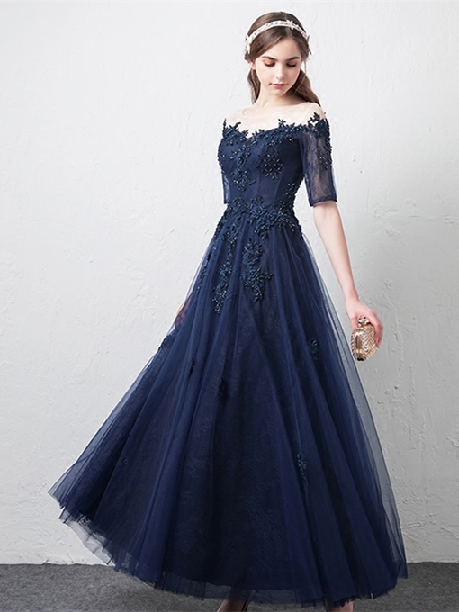 A-Line Appliques Beading Lace Scoop Evening Dress