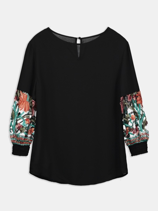Key Hole Mesh Embroidery Patchwork Women's Blouse