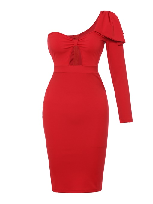 Red One Shoulder High Waist Sexy Bodycon Dress