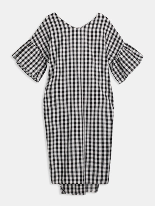 Plaid Bell Sleeve Women's Day Dress