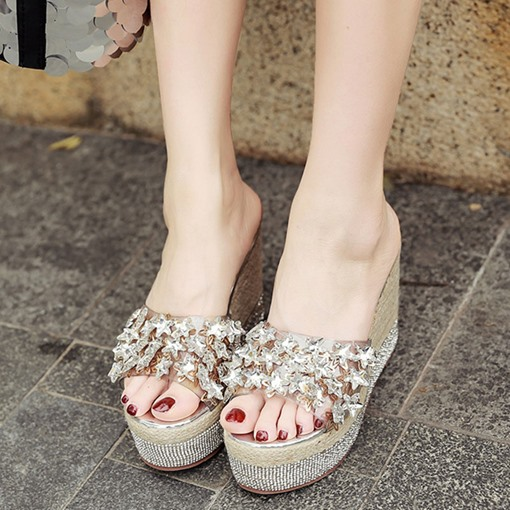 Summer Rhinestone Platform Flip Flop for Women