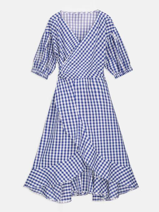 Blue Plaid V Neck Women's Day Dress