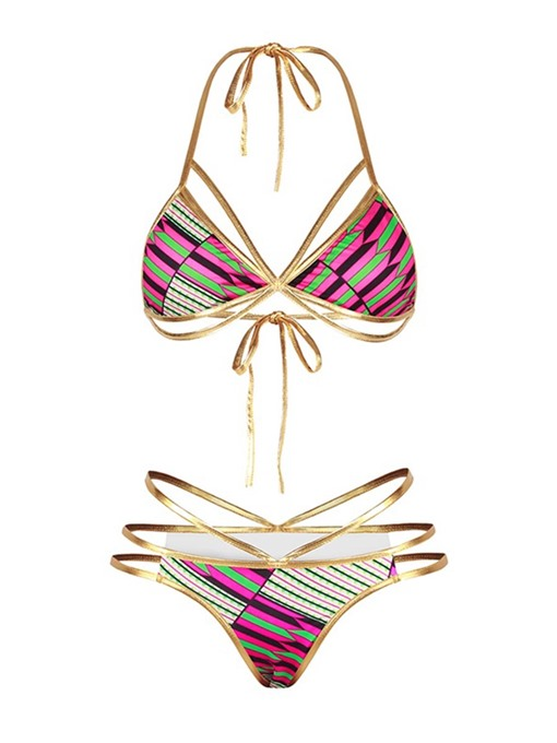 Dashiki Gold Adjustable Strap Hollow Women's Bikini Set