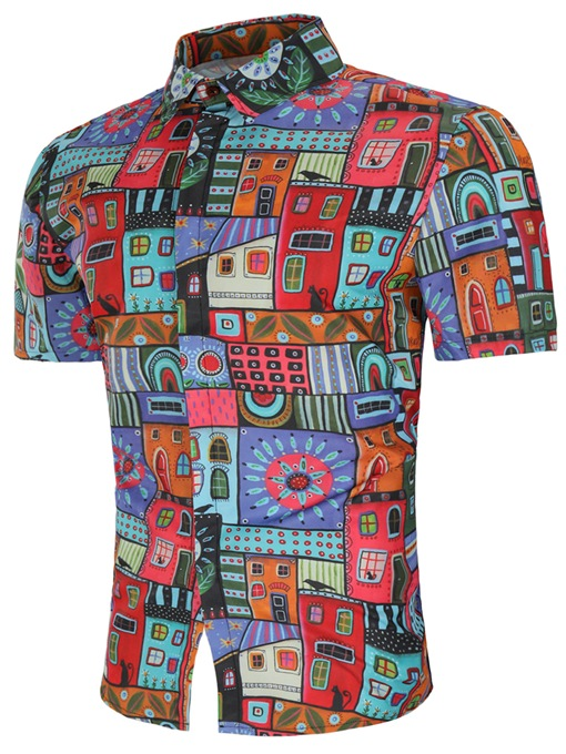 Colorful Geometric Pattern Print Men's Short Sleeve Shirt