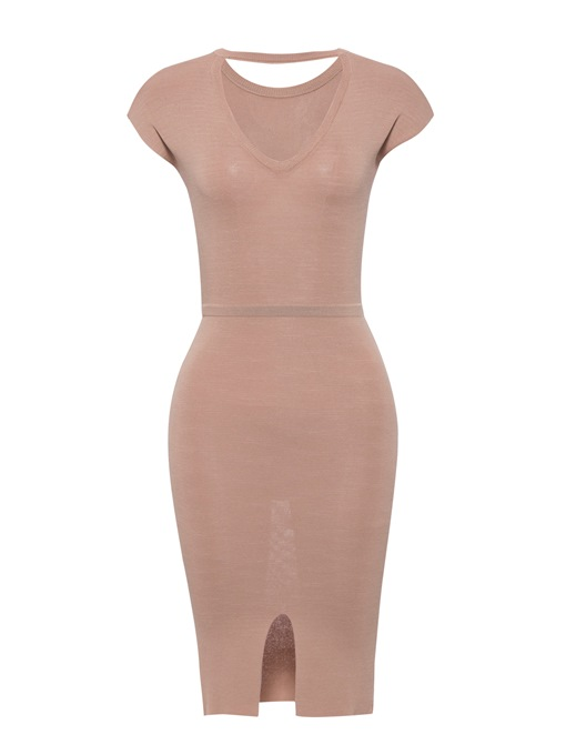 Yellow Round Neck Sexy Bodycon Dress