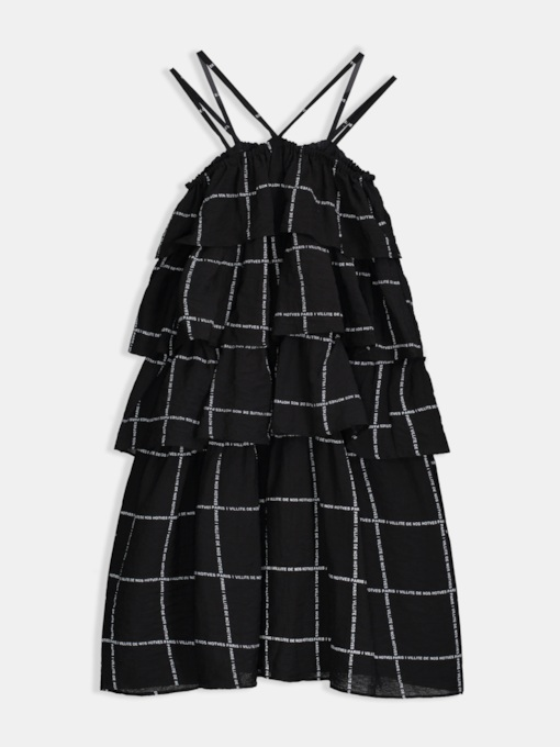 Layered Falbala Plaid Pullover Casual Dress