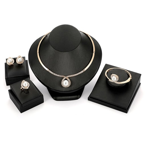 Diamante Pearl Inlaid Vintage Jewelry Sets