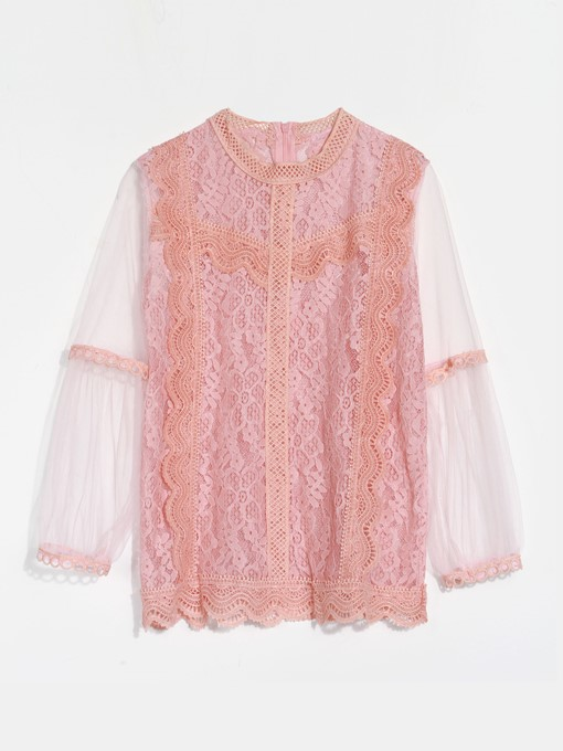 Loose Lace Patchwork Sheer Women's T-Shirt