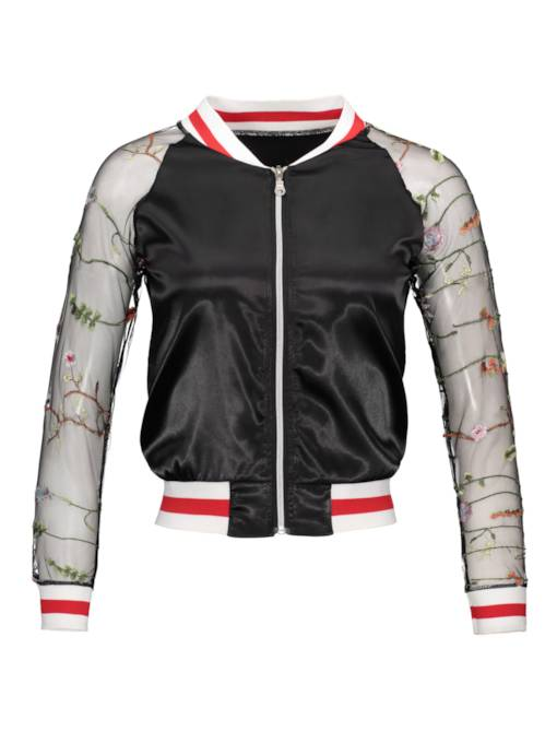 Sheer Mesh Patchwork Embroidery Women's Jacket
