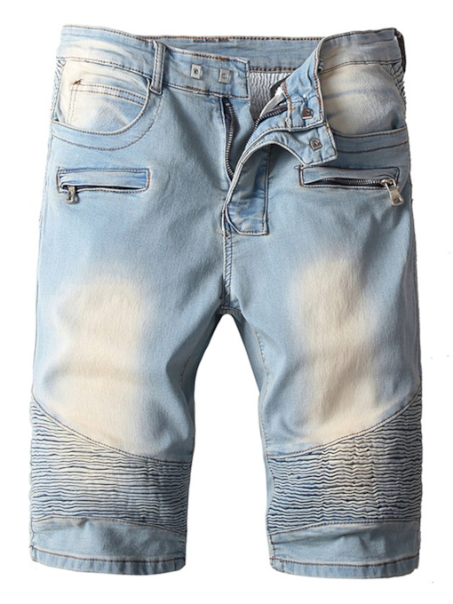 Worn Straight Hole Zipper Men's Short Jeans