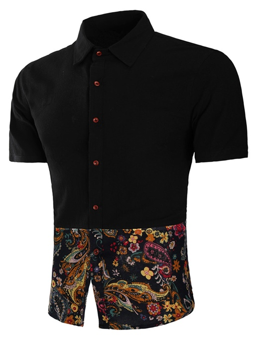 Lapel Ethnic Patchwork Men's Short Sleeve Shirt