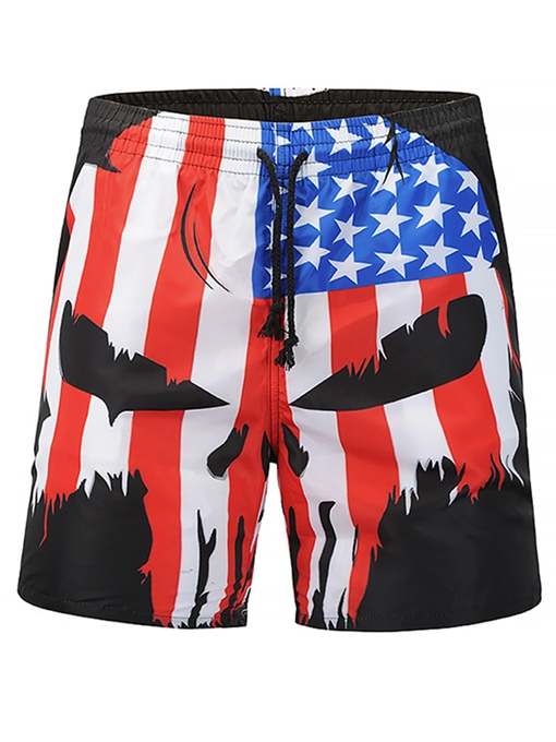 Skull Print Slim Men's Swim Shorts