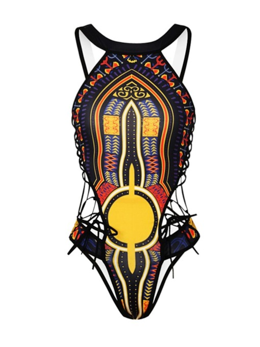 Dashiki Swimwear Backless Lace-Up Women's Monokini