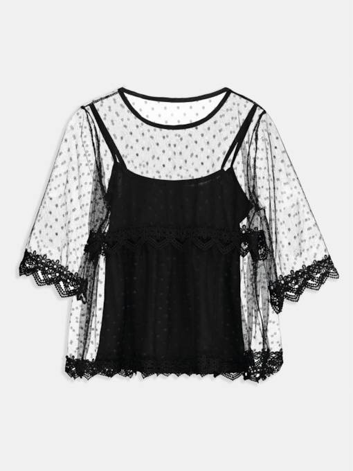 Sheer Lace Patchwork Women's T-Shirt(Tank Top Included)
