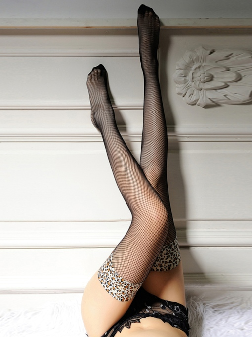 Leopard Fishnet Core Spun Silk Thigh-High Stockings