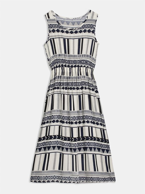 Zebra-Stripe Knee-Length Pullover Ethnic Casual Dress