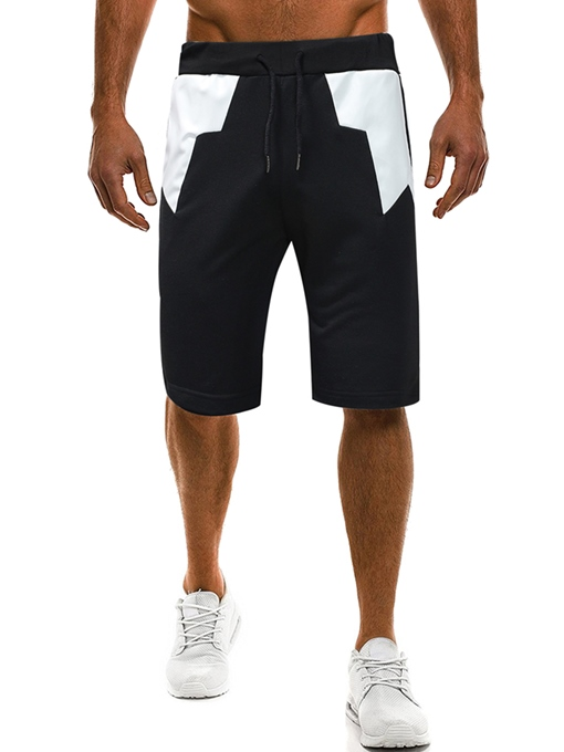 Patchwork Elastic Leisure Men's Short Pants