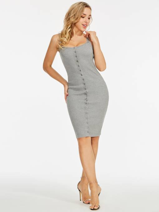 Gray Single-Breasted Women's Bodycon Dress