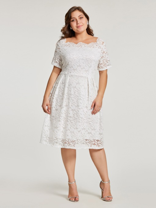 Plus Size White Lace Short Sleeve A-Line Dress