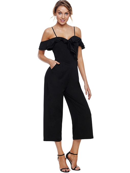 Off Shoulder Cami Ruffled Women's Jumpsuit