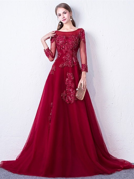 A-Line Appliques Bateau Long Sleeves Sequins Evening Gowns 2019