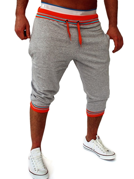 Color Block Stripe Elastic Men's Leisure Pants