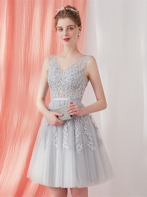 A-Line Appliques Beading Sashes V-Neck Cocktail Dress