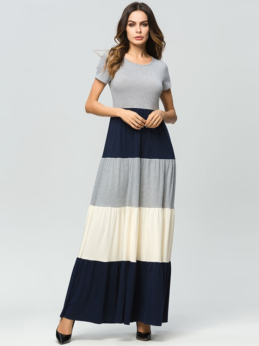 Casual Color-Block Floor Length Maxi Dress