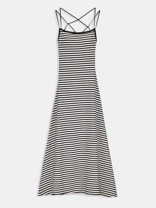 Spaghetti Strap Stripe Round Neck Casual Dress