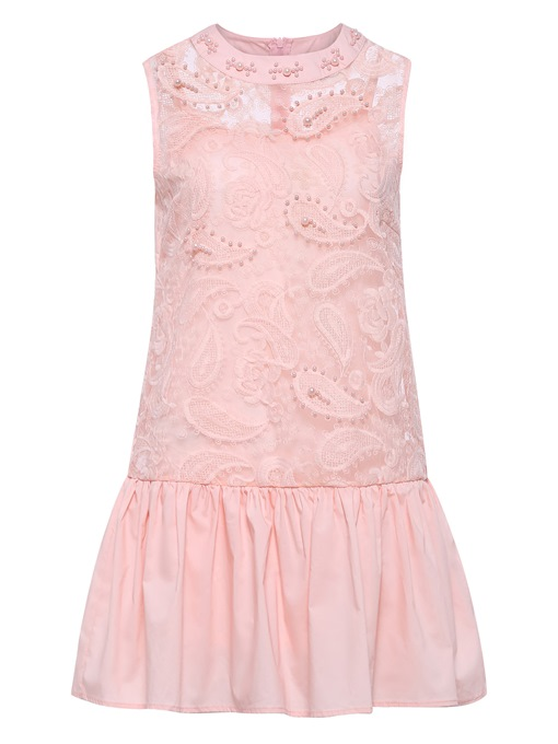 Pink Patchwork Lace Sleeveless Casual Dress
