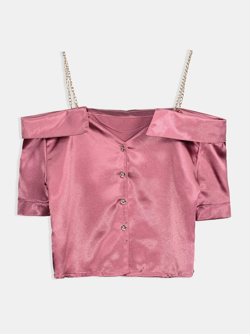 Off Shoulder Single-Breasted Chain Straps Women's Blouse