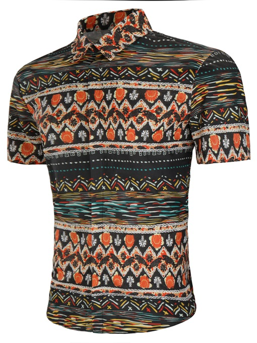 Ethnic Patchwork Men's Short Sleeve Shirt