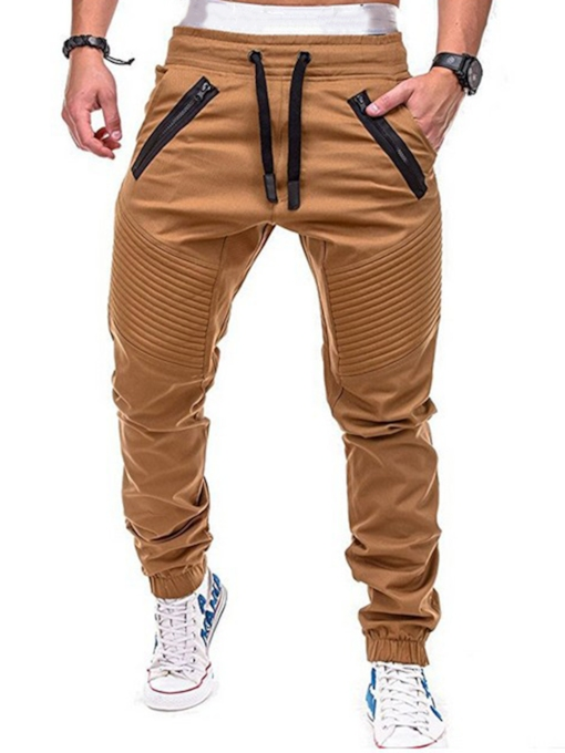 Lace-up Patchwork Men's Ankle Banded Pants
