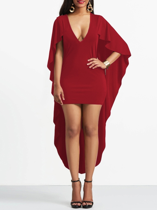 V-Neck Asymmetric Three-Quarter Sleeve Pullover Women's Party Dress